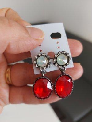 Zanzea Orecchino d'argento argento-rosso mattone
