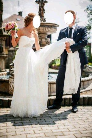 FAMOSA Brautkleid mit Schleppe Hochzeitskleid Kleid für Hochzeit Korsagenkleid aus Spanien! wollweiß ecru Naturfarbe mit Seide Größe 34 36 XS S und Haarkamm Swarovski dabei!!! NP 1.300,- Euro