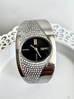 Fancy Armspange Damenuhr von Esprit Zirkonia Silber schwarz Steine Uhr Neu mit Batterie