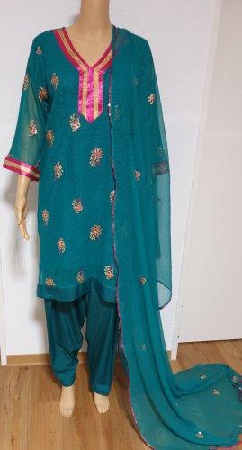 1 brand Peplum Dress pink-cadet blue