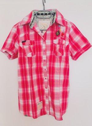 Fancy Karohemd mit Knopfleiste und Applikationen Pink Rosa von Madonna Gr. L Kurzarm Designerlook Neu ohne Etikett