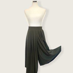 Vintage Falda pantalón de pernera ancha verde oscuro