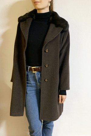 Vintage Wollen jas taupe