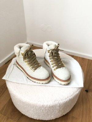 Fantasy Boots Stiefeletten Winterboots Gefüttert Stiefel Weiß