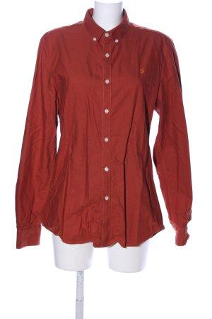 Farah Hemd-Bluse rot Schriftzug gestickt Casual-Look
