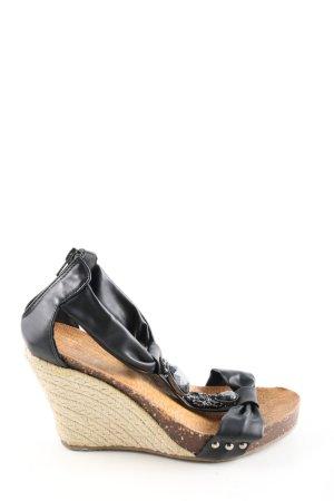 Farasion Sandały klinowe na obcasie czarny-brązowy W stylu casual