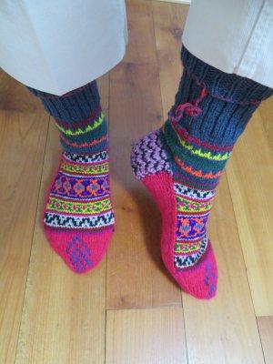 Himalaya Pantoufles-chaussette multicolore laine