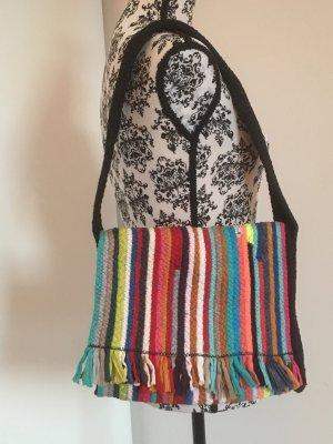 Farbenfrohe handgenähte Handtasche Fransen Hippie Flowerpower Style
