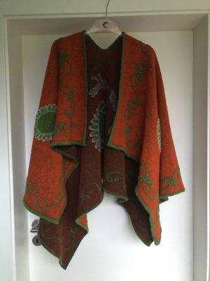 Knitted Poncho orange-green