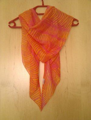 Farbenfrohes leichtes Halstuch in Orange-Pink - Dreiecksform - top Zustand