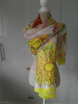 Bufanda de seda amarillo pálido-verde claro