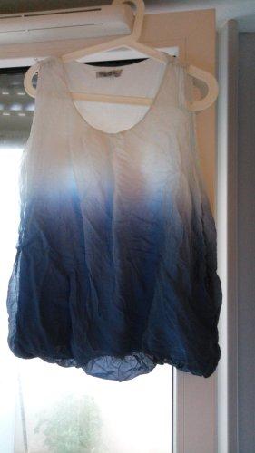 Top spalle scoperte bianco-blu acciaio