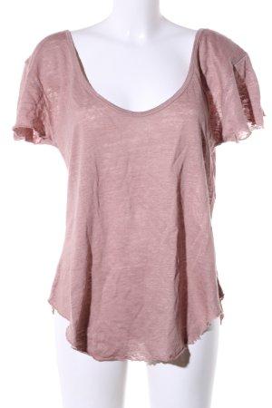 Boothalsshirt roze gestippeld casual uitstraling