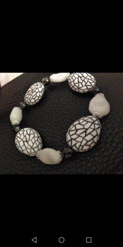 Urlaub Armband met parels wit-zwart