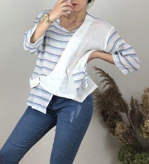 Blusa de cuero blanco-azul