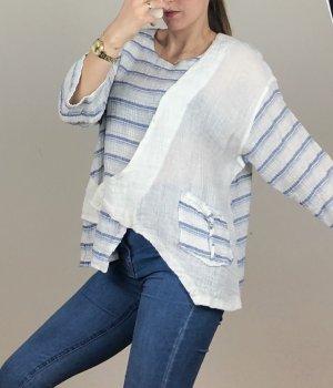 Blusa tipo Carmen blanco-azul claro