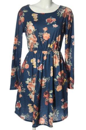 fashion classic Langarmkleid blau-nude Allover-Druck Casual-Look
