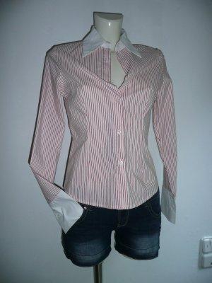 Fashion ELLE klassische Stretch Bluse tailliert fein Rot Weiß gestreift Gr 36