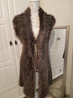 Fashion Elle Lang gebreid vest taupe-donkerbruin Mohair