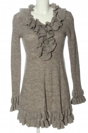 Fashion Elle Sweater Dress light grey flecked casual look