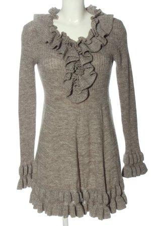 Fashion Elle Robe pull gris clair moucheté style décontracté