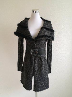 Gebreide jas donkergrijs-zwart