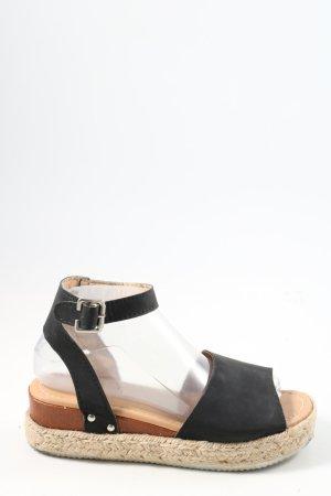 fashion Espadrille sandalen zwart-wolwit casual uitstraling