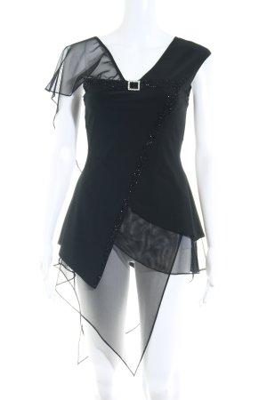 Fashion New York Long-Bluse schwarz Perlenverzierung