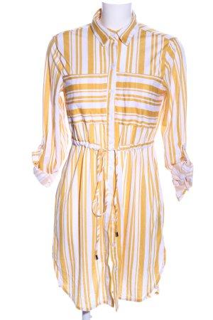 Fashion Nova Hemdblusenkleid weiß-hellorange Streifenmuster Casual-Look