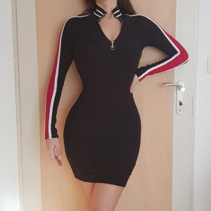 Fashion Nova Minikleid Schwarz Black Midikleid Kleid Stretch Bodycon