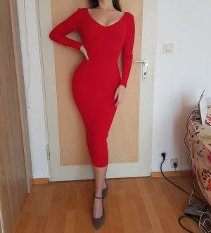 Fashion Nova Rot Red Midikleid Kleid XS Bodycon