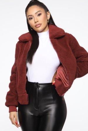 Fashion Nova - Teddy Girl Jacket - Burgundy