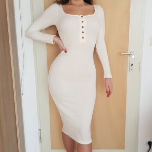 Fashion Nova Weiß Creme Midikleid Kleid mit Knopfleiste S