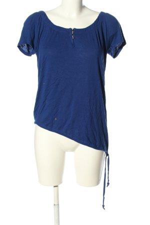 Fashion Safari Top à col bateau bleu style décontracté