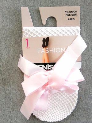 Fashion Socken Netzstrümpfe Rosa mit Satin-Schleife