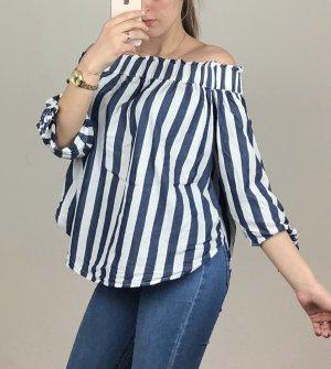 Blusa tipo Carmen blanco-azul oscuro