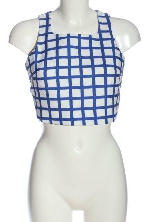 Fashion Union Haut cut-out blanc-bleu motif à carreaux style décontracté