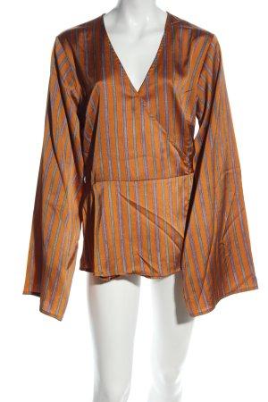 Fashion Union Langarm-Bluse hellorange-hellgrau Streifenmuster Casual-Look