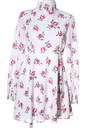 Fashion Union Langarmkleid weiß-pink Allover-Druck Elegant