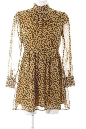 Fashion Union Langarmkleid goldorange-blau Leomuster klassischer Stil