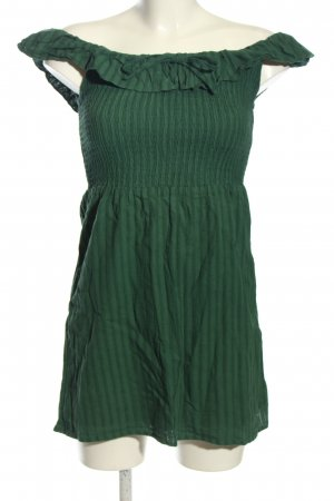 Fashion Union schulterfreies Kleid grün Streifenmuster Casual-Look