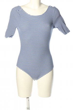 Fashion Union Shirtbody blauw-wit gestreept patroon casual uitstraling