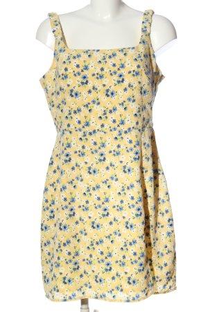 Fashion Union Trägerkleid blassgelb-blau Allover-Druck Casual-Look
