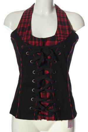 fashion victim Corsage topje zwart-rood geruite print casual uitstraling