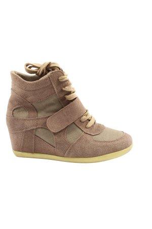 fashion Wedge Sneaker brown-cream casual look