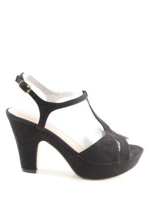 Sandalias de tacón con plataforma negro look casual