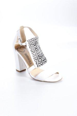 Sandalen met bandjes en hoge hakken wit-zwart
