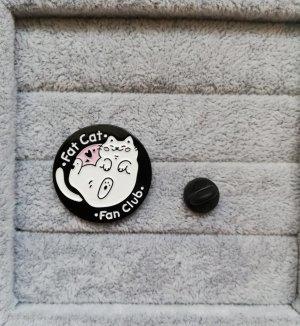 Fat Cat Fan Club Katze Pin Anstecker Brosche Metall