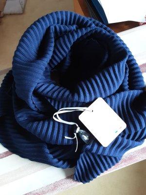 Fattorseta Écharpe froissée bleu foncé