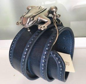 * FAUSTO COLATO * NEU ! LEDER GÜRTEL blau SCHLIESSE silber Frosch  Gr 75 ( 80 ) M / 3,8cm